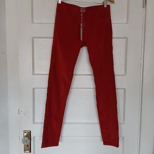 Hartford Mid Rise Red Velvet Slim Leg Jeans